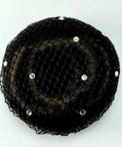 Bun Net Black with Swarovski Crystals