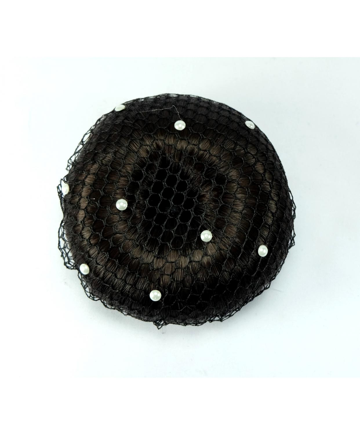 Bun Net Black with Swarovski Pearls