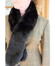 Scarf Black Faux Fur