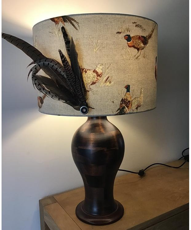 Lamp & Shade with Feathers